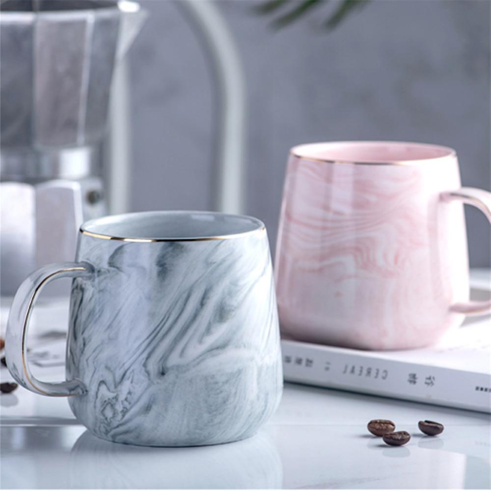 유럽 우유 커피 머그잔 대리석 골드 상감 머그잔 아침 머그잔 사무실 홈 Drinkware 차 컵 연인의 선물 Dropshipping