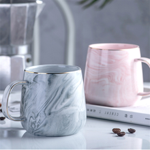 Europe Milk Coffee Mugs Marble Gold Inlay Mug Breakfast Mug Office Home Drinkware Tea Cup 400ml for Lover #8217 s Gifts Dropshipping cheap Smallku CN(Origin) Ceramic Bone China Milk Mugs With None Handgrip CE EU XY-HYB Eco-Friendly Pink Gray Mugs