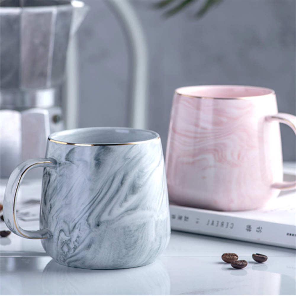 Europe Milk Coffee Mugs Marble Gold Inlay Mug Breakfast Mug Office Home Drinkware Tea Cup for Lover's Gifts Dropshipping