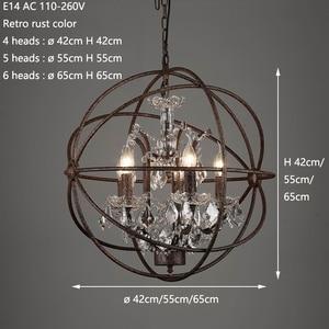 Image 2 - Ferrugem gaiola de ferro lustres E14 grande estilo Retro do vintage CONDUZIU a Iluminação da lâmpada do candelabro de cristal lustre para sala de estar quarto bar