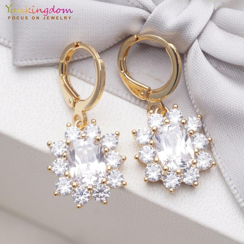 Yunkingdom Wedding Gold Earring White Cubic Zirconia Crystal Dangle/Drop Earrings for Women 7 Different Fashion Jewelry