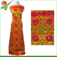 2017 Queency India Embroidery Orange Fushia Sequins Raw Silk George Wrappers Fabrics For Dress Hot Sale