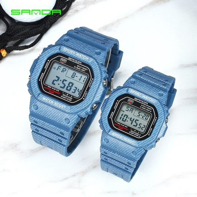 SANDA Men's and Women's Fashion Watch Boys Girls Couples Watch LED Waterproof Sp