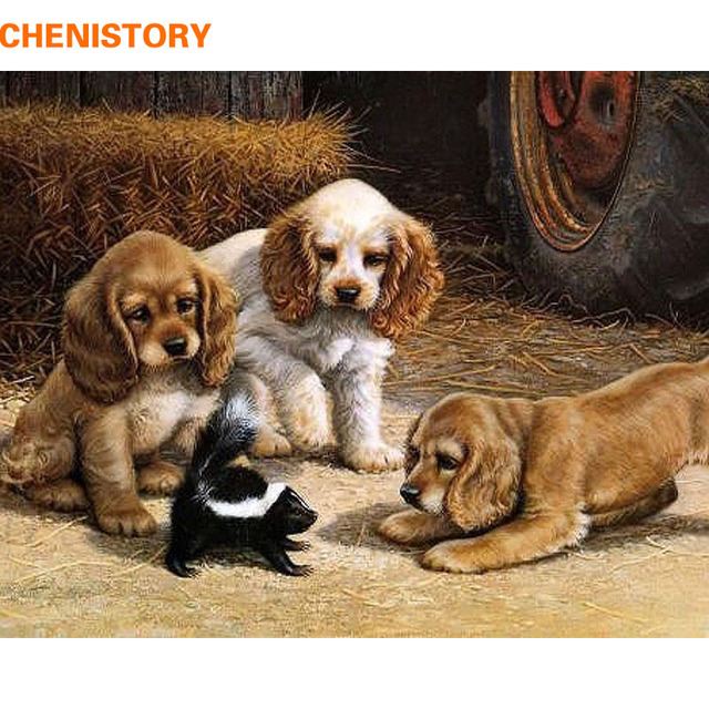CHENISTORY Dogs Play The Games DIY Digital Oil Painting By Numbers Color Kit Paint On Canvas With Wooden Frame For Children Gift