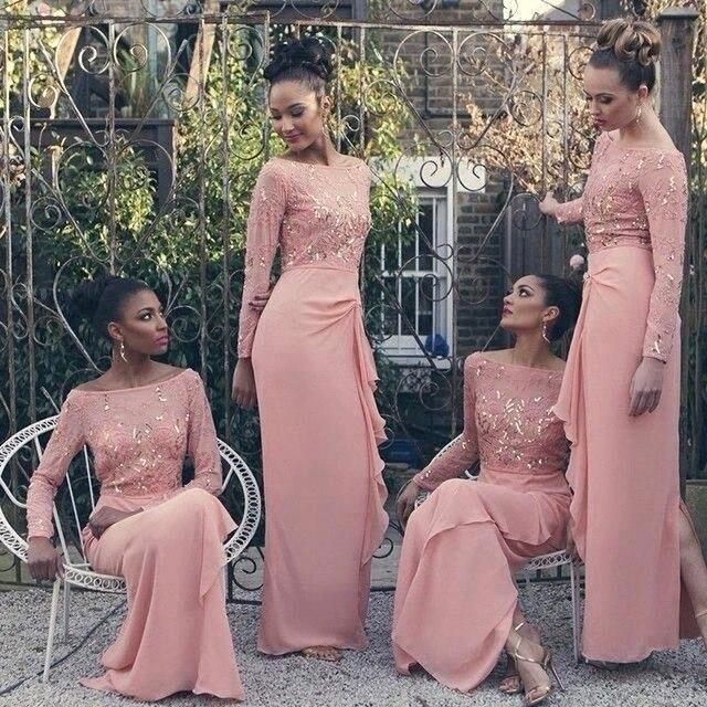 Nuevas llegadas rosa damas de honor vestidos elegante con ...