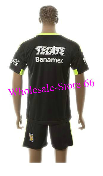 29173a512 Hot Sale Uniforms Kit Kits 2015 2016 Tigres UANL away Blank Away Black  Jersey Soccer Jerseys -in Soccer Jerseys from Sports   Entertainment on ...