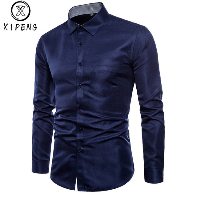 466cf1770faeb3 Brand Navy Shirt Men Chemise Homme Fashion Design Long Sleeve Slim Fit  Business Mens Dress Shirts Causal Solid Color Mens Shirts