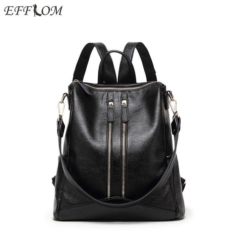Fashion Designer Women Backpack Leather Ladies Waterproof Travel Backpack Black Student School Bag For Teenage Girls