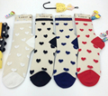 24pcs=12pair NEW women girl sexy beautiful cool crystal glass silk lace small heart Jacquard summer summer socks 12pair/lot