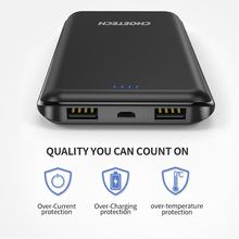 CHOETECH 10000mAh Power Bank Ultra-thin Double USB Output External Battery Portable Charger Powerbank For Smart phone & Tablets