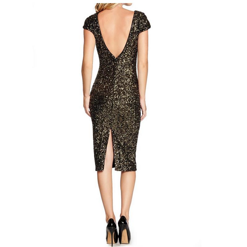 New female summer high quality dress vestidos professional women pencil  jacket O collar sequined dress vestido plus size G26-in Dresses from Women s  ... e00aab2f9a08