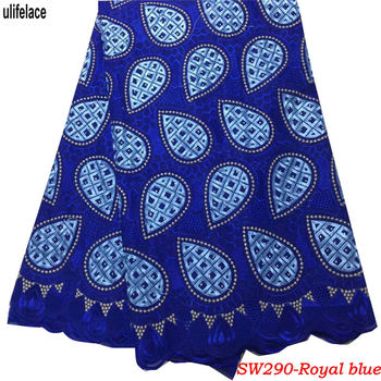 Clsss Design Swiss Voile Lace Fabrics African Lace For Evening Dresses Royal Blue Swiss Voile Lace In Switzerland SW-290