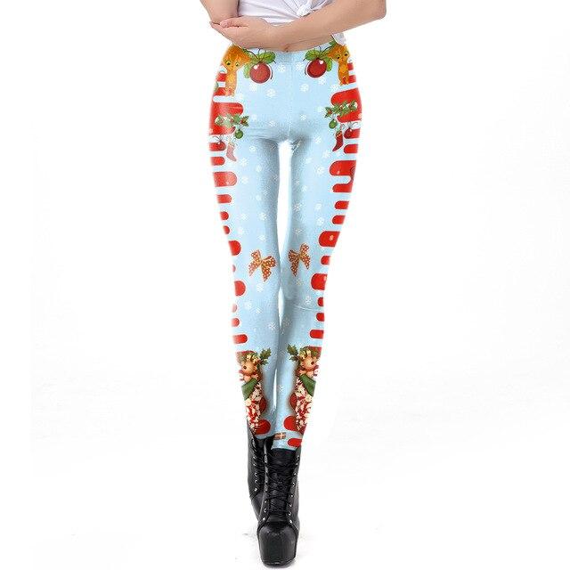 2018 Christmas Deer 3D Printed Slim Fitness Leggings Women LegginsHigh Waist Push Up Legging Autumn Winter Leggins Mujer
