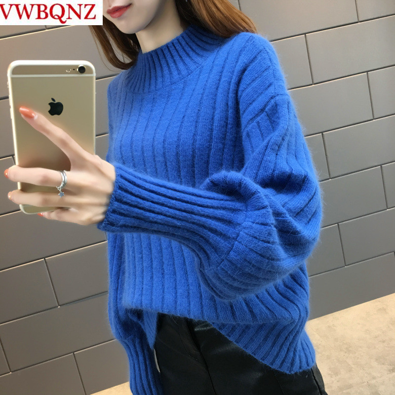 Women Warm Knitwear Sweaters Korean Clothing Autumn Winter Loose Lanterns Sleeves Solid Sweater Plus Size Casual Ladies Pullover