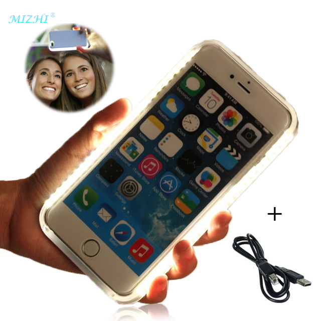 separation shoes 08ff4 ab728 US $7.49 |Selfie Light Phone Case For IPhone 7 PLUS 6 X IPhone6 Cover For  Samsung Galaxy S6 S7 Edge Case with Lights I7 I5 I6 Plus S6edge-in Fitted  ...