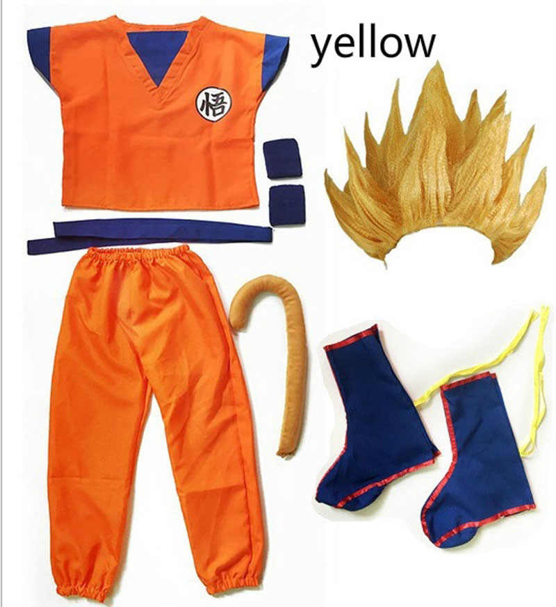 2020 Anak-anak/Dewasa Halloween Anime Dragon Ball Z Goku Cosplay Kostum Pesta Set