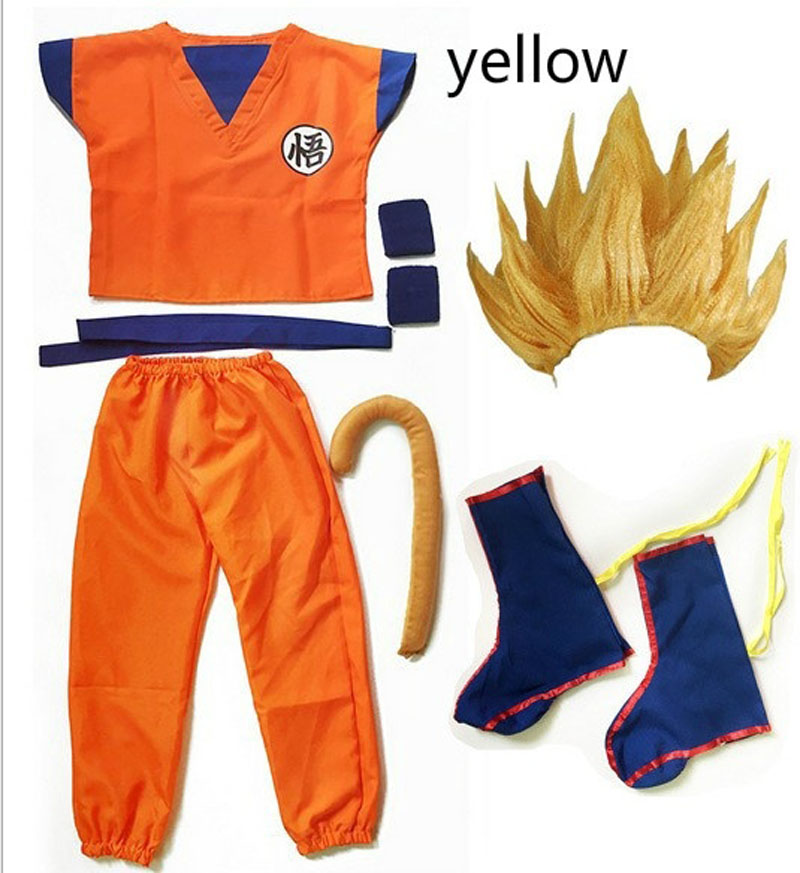 2019 Kids/Adult Halloween Anime Dragon Ball Z Son GoKu Cosplay Costume Party Set