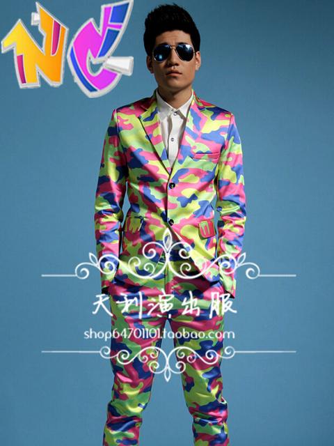 Envío gratis nuevas discotecas mens cantante hombres de DJ de vestir GD estilo pasarela europa colores trajes de camuflaje trajes ( Suit + Pants )