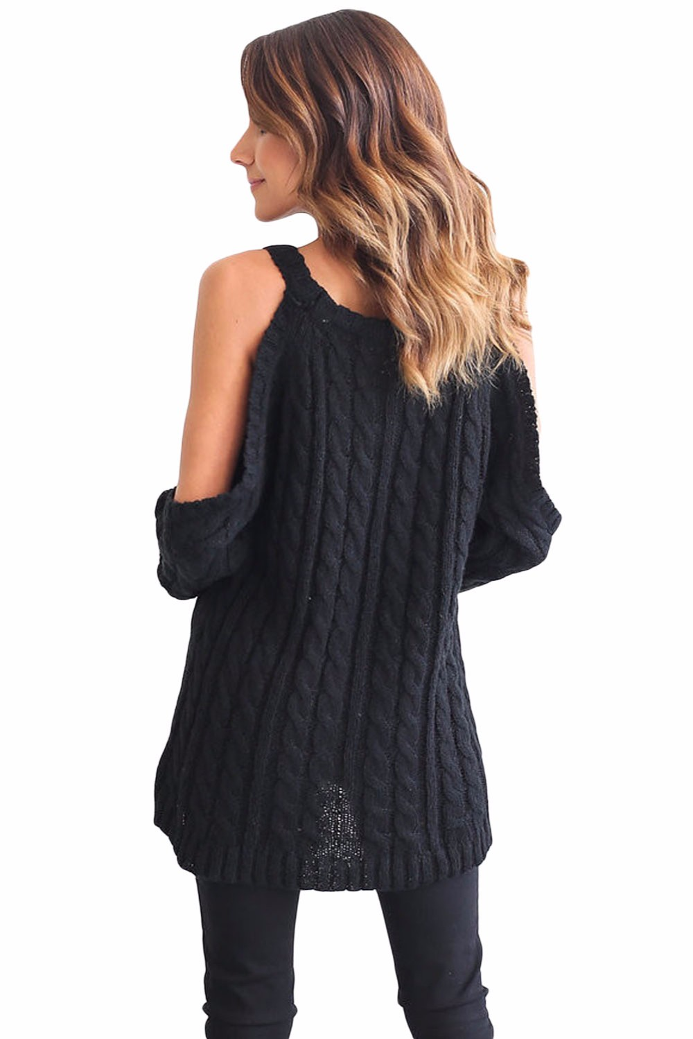 Black-Daring-Cold-Shoulder-Cable-Knit-Sweater-LC27653-2-4