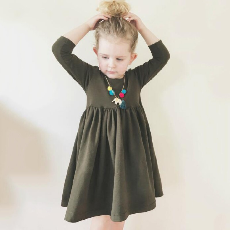Kids Dress For Girls Clothes Fashion Army Green Princess Dresses Long Sleeve Spring Toddler Girl Clothing Cotton Children Dress 2017 fashion princess girls dress long sleeve cartoon baby girl cotton party dresses for kids children clothing winter toddler