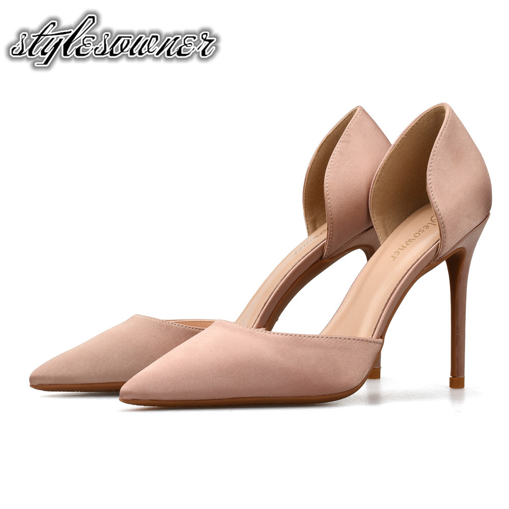 Stylesowner British Style Black Nude Color Sexy Shallow Single Shoes for Woman Silk High Heels 10/8/6cm Mature Pumps Stiletto