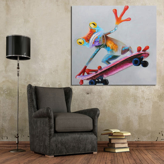 large canvas art cheap 100 hand painted abstract frog skating oil painting modern living room wall decor picture no framed