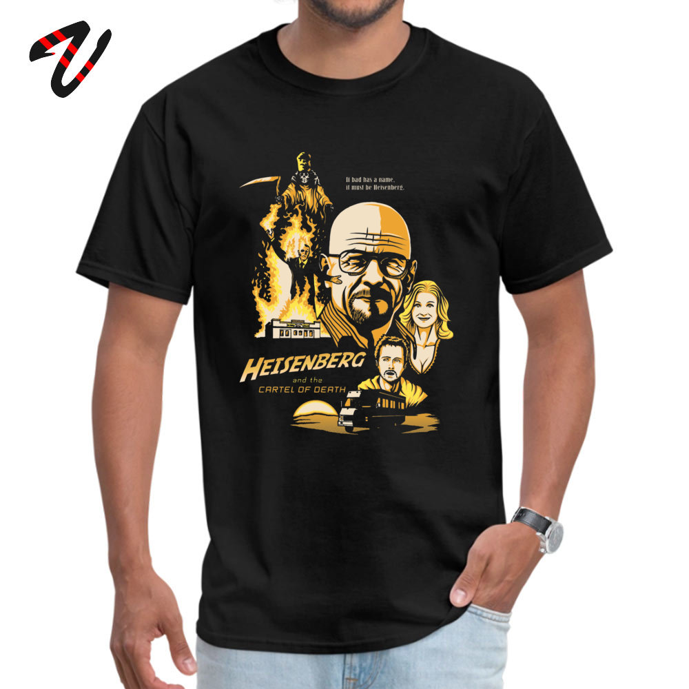 2019 Hot Sale Printed On Simple Style T Shirt O Neck 100% Cotton Men's Tops & Tees Short Sleeve Summer Fall Simple Style Tshirts Heisenberg and the Cartel of Death 2354 black