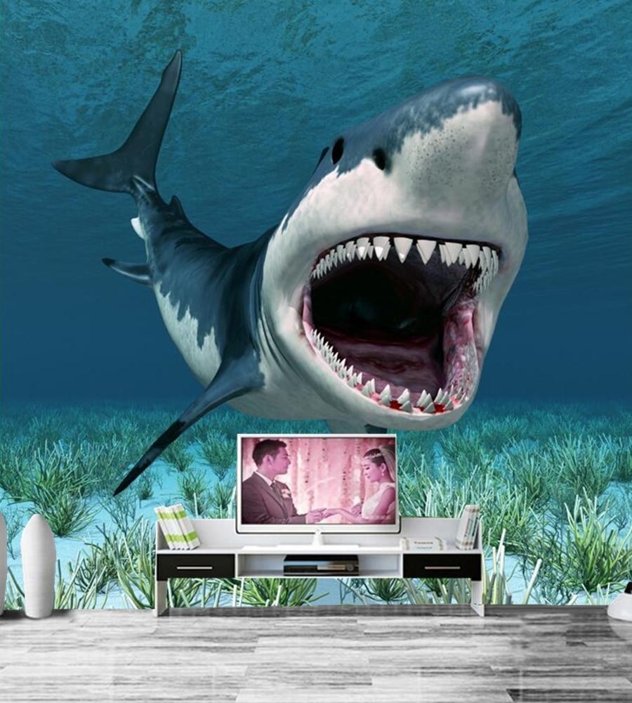 Us 114 62 Offcustom Muurschilderingen Onderwater Wereld Haaien Tanden Dieren Wallpapers Hotel Woonkamer Sofa Tv Muur Slaapkamer 3d