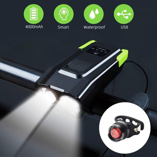4000 mAh Inteligente Indução Luz Da Frente Da Bicicleta Conjunto USB Recarregável 800 Lumen LED Head Light com Chifre Da Bicicleta Lâmpada Ciclismo lanterna 1