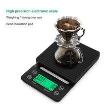Balance à café Portable 3kg/5kg, chronographe 0.1 de précision pour cuisine, avec coussin isolant étanche