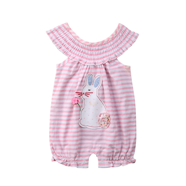 2fb65d8d04a Cute Newborn Kids Baby Girl Stripe Rabbit Romper Jumpsuit Outfits One-piece  Cotton Summer Sleeveless Kid Girls Clothes Rompers