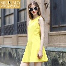 2017 summer dress women's clothing medium-long high waist tank dress solid color slim o-neck sleeveless one-piece dress female