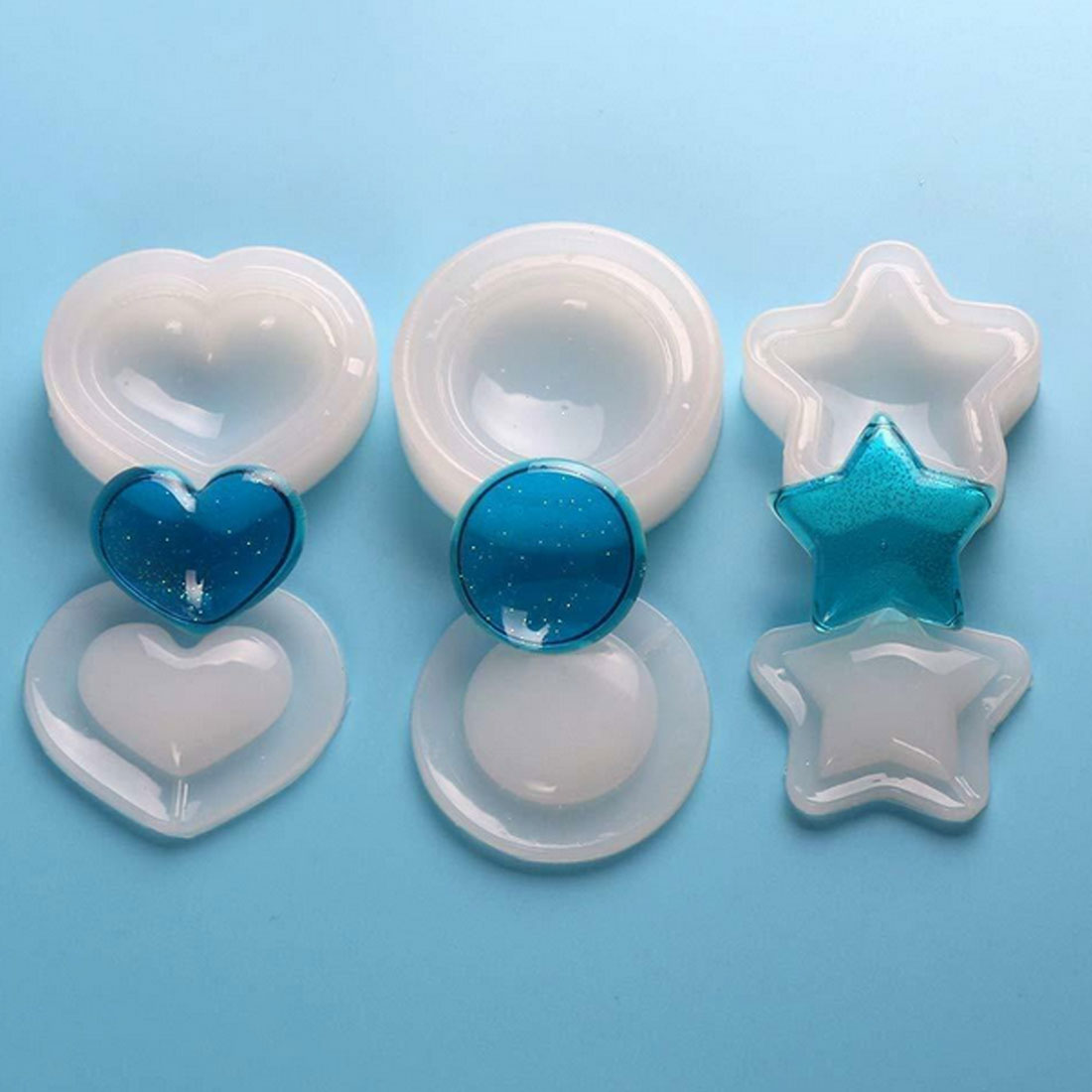 Chic Star Shells Heart Pendant Casting Silicone Resin Mold Making Craft Crystal DIY Jewelry Making Craft Cake Mold Tool in Jewelry Tools Equipments from Jewelry Accessories