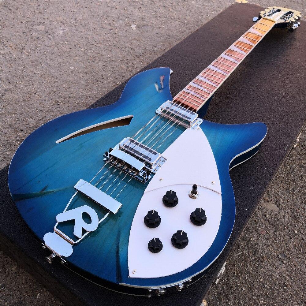 Guitare ricken 12 cordes guitare bleu océan deux sorties, touche palissandre a la brillance du vernis dessus