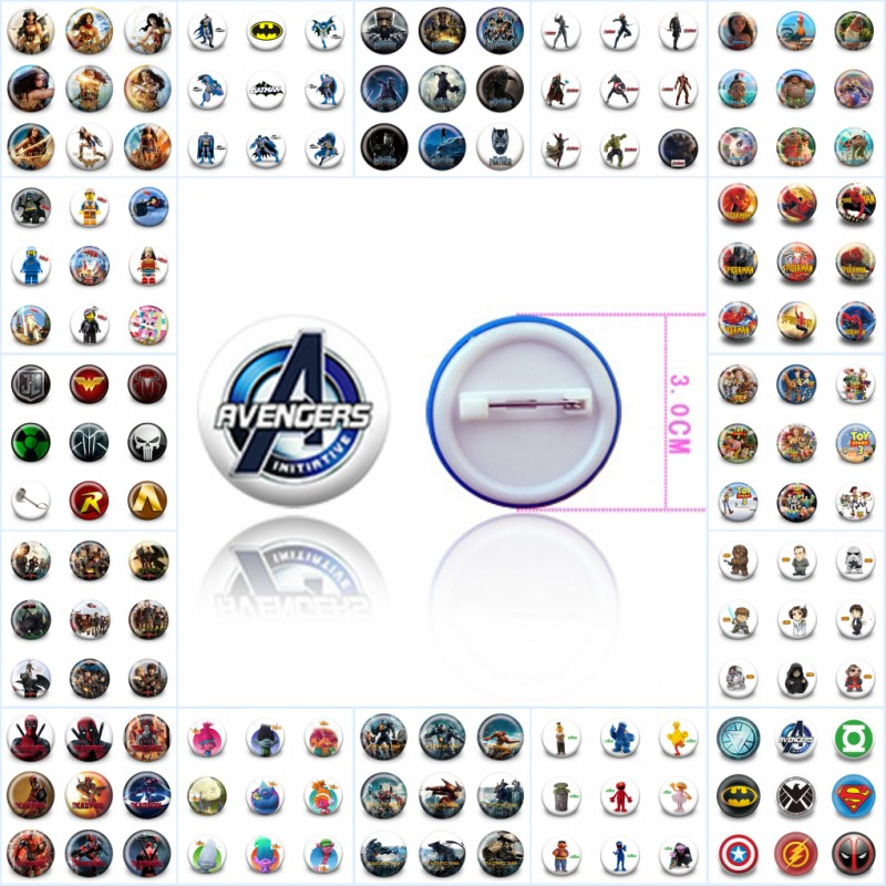 Wholesale 900pcs Superhero Cartoon Badges Pins 30mm Round Buttons Brooches DIY Craft Backpack Decoration Kids Gift Party Favors цена