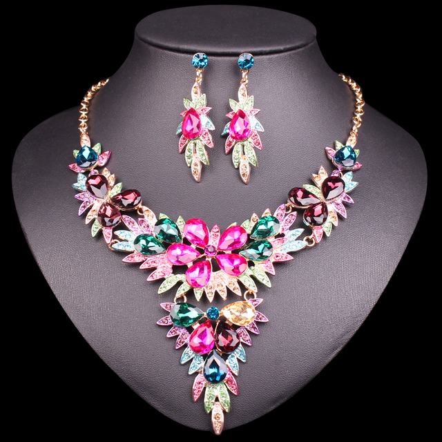 52622336361 Fashion Pink Crystal Gold Color Necklace Earrings sets Indian Bridal  Jewelry Sets for Brides Wedding Party Costume Jewellery set