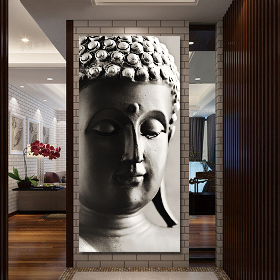 Modern living room wall decorations - Special Chinese Styles Painting Silver Buddha Painting 3 Panels Canvas Wall Art On Living Room
