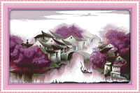 Purple Dream Scenery Counted Cross Stitching 11CT Printed 14CT Handmade Cross Stitch Set Cross stitch Kits Embroidery Needlework