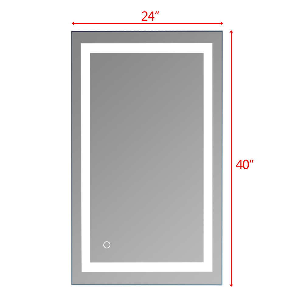 Square Wall Mount Bathroom Makeup Mirror Silver Aluminum Touch Screen LED Bathroom Vanity Mirror Lights with Magnifying Mirror 6