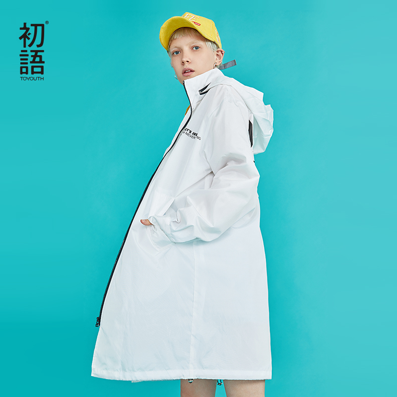 Toyouth New 2019 Letter Oversized Long Trench Coat For Women Zipped Loose Solid Trench Coat Hooded