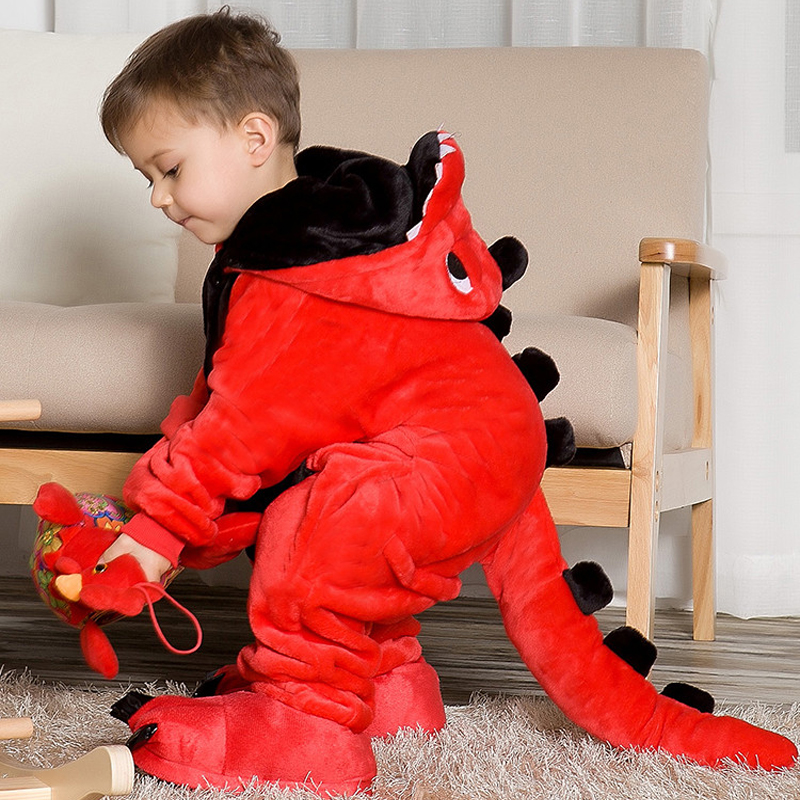 Children's pajamas cartoon new jumpsuit flannel dinosaur animal play suit long-sleeved hoodie warm cute funny one-piece pajamas(China)