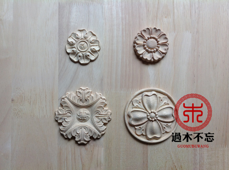 ᐂwood dongyang wood carving fashion circle flower wood applique