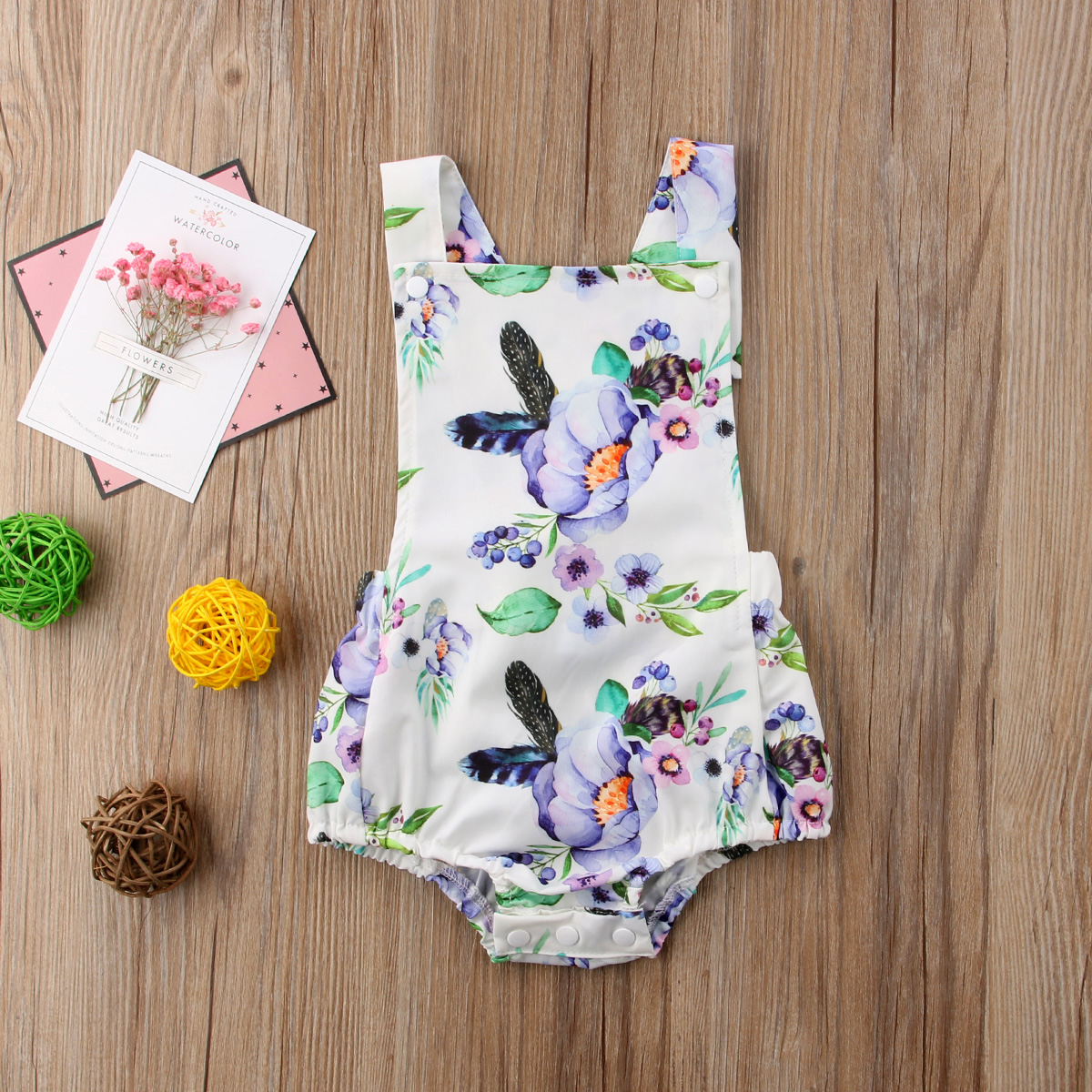 Newborn Toddle Kid Baby Girls Floral Clothes Sleeveless Jumpsuit Bodysuit Sunsuit Cotton Outfit Summer Set Baby Girl 0-24M