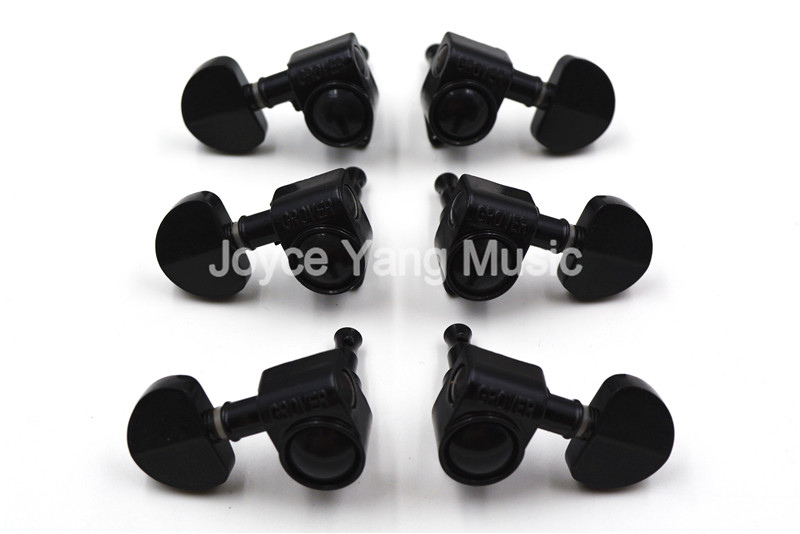 Grover Style Black Semicircle Guitar Tuning Pegs Tuners Machine Head 3L+3R Free Shipping Wholesales a set chrome sealed gear tuning pegs machine heads tuners for guitar with black big square wood texture buttons
