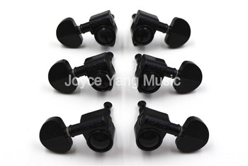 Grover Style Black Semicircle Guitar Tuning Pegs Tuners Machine Head 3L+3R Free Shipping Wholesales image