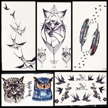 3D Black Cat Temporary Tattoo Bracelet Under Breast Sternum Side Waterproof Fake Birds Feather Tattoo Sticker Women Kids(China)