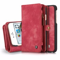 For IPhone 6 6S Wallet Case Magnetic 2 In 1 Detachable Genuine Leather Flip Cover Case