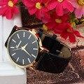 2016 горячие продажа эксклюзивная модная искусственная кожа женева часы конфеты цвет кварцевые часы Бренда заводские цены Женщины Мужчины Reloj Relógio