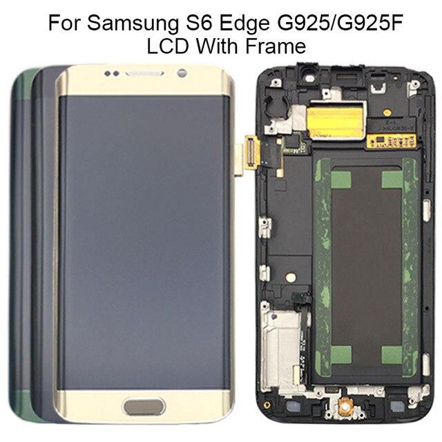 شاشة LCD تعمل باللمس لسامسونج غالاكسي S6 حافة G925 G925I G925F محول الأرقام مع الجمعية الإطار استبدال 100% اختبارها