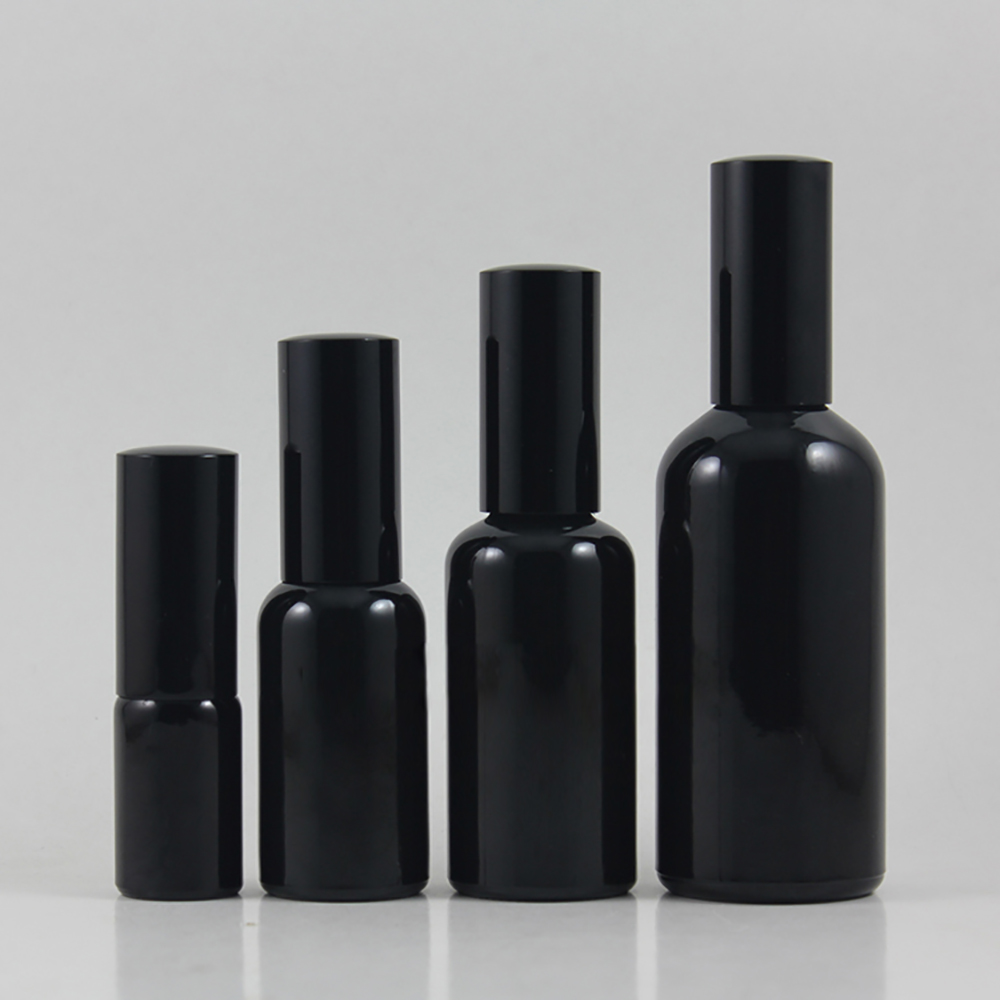 atacado 50 pcs vazio 10 ml rodada preto brilhante garrafa de locao com bomba preto embalagem